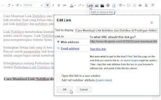 Cara Membuat Link Dofollow di postingan artikel blog