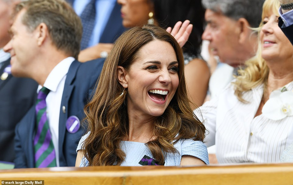 The Duchess of Cambridge was all smiles as they sat at Wimbledon's Royal Box