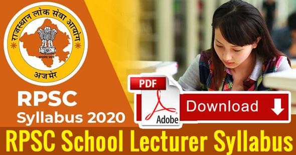 RPSC School Lecturer Sanskrit Syllabus 2020