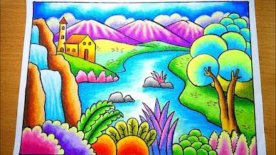 contoh gambar pemandangan alam, gunung, air, sungai, pepohonan