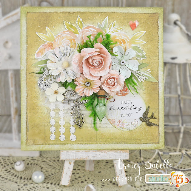Mixed Media Birthday Card by Tracey Sabella for Studio75: #traceysabella #studio75 #littlebirdiecrafts #solidoak #rangerink #primamarketing #finnabair #helmar #spring #springcard #mixedmedia #mixedmediacard #mixedmediacards #shabbychic #shabbychiccard #shabbychiccards #handmadeflowers #springisintheair #handmadecard #handmadecards #diycard #diycards #handcraftedcard #hancraftedcards