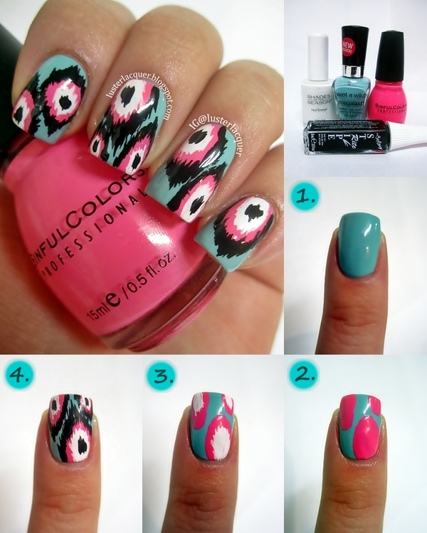 Luster Lacquer Abstract Nail Art: Luster Lacquer: Ikat Print: Pictorial