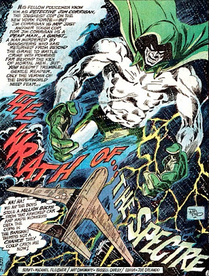 Adventure Comics #431, the Spectre splash page, Jim Aparo, plane