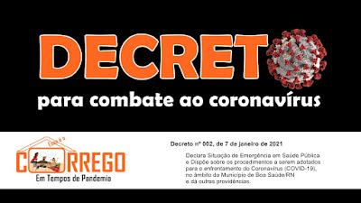 Decreto dispõe sobre medidas para o enfrentamento do coronavírus