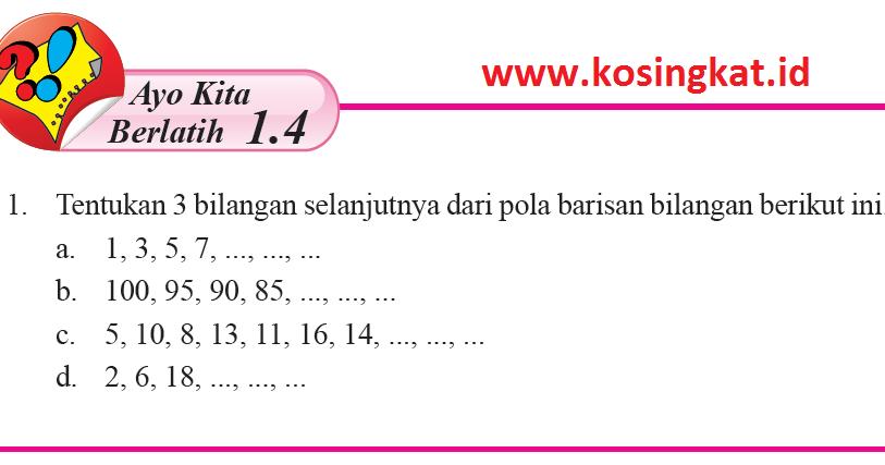 Kunci Jawaban Matematika Kelas 8 Halaman 22 23 Ayo Kita Berlatih 1 4 Kosingkat