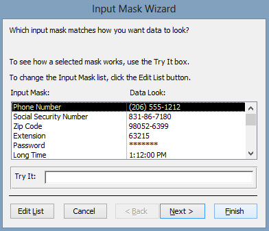 Input Mask Wizard