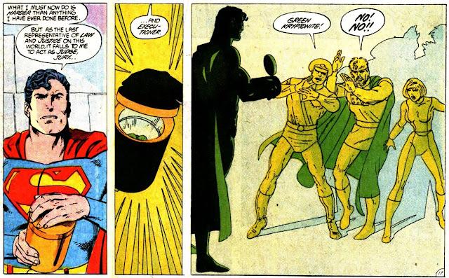 Three panels from Superman #23 where he executes three powerless Kryptonian criminals.