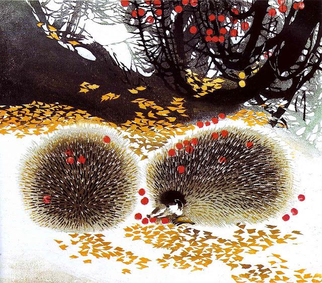 a Chen Yuping painting of autumn forest porcupines