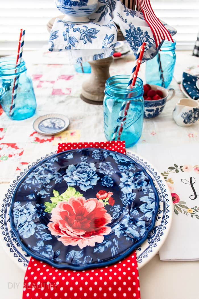 blue floral plate with red and white polka dot napkin