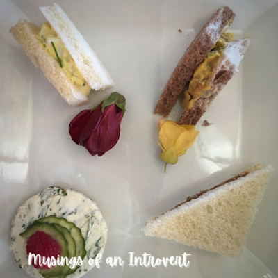 Tea sandwiches during the Rose & Crown tea experience at Epcot UK