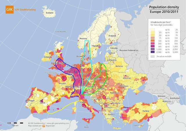 Mapa Europa diferentes bananas
