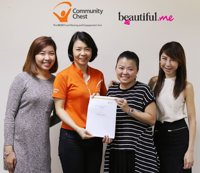 Source: Beautiful.me.  Beautiful.me signs the memorandum of understanding with Community Chest. From left: Elise Wong, CRM Executive, Beautiful.me; Mae Kng, Senior Associate Director, Community Chest; Olive Tai, MD, Beautiful.me; Wileen Chen, Manager of Relations & Engagement, Community Chest.