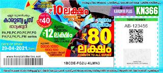 Kerala Lotteries Results 29-04-2021 Karunya Plus KN-366 Lottery Result