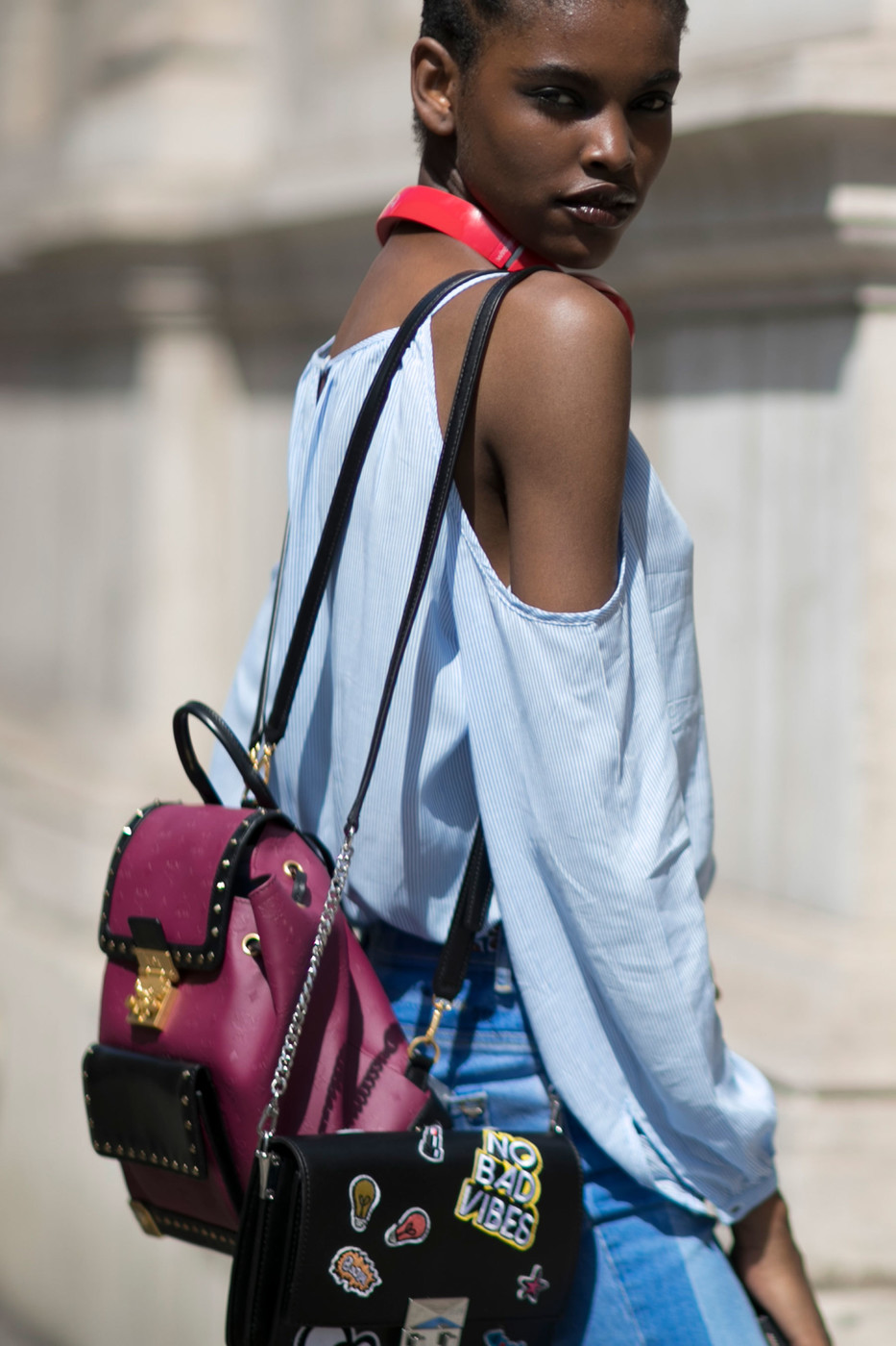 Street Style: Amilna Estevão's Off-the-Shoulder Look
