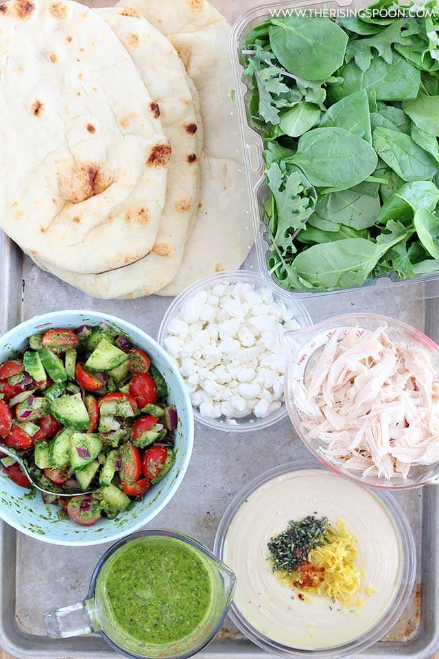 Ingredients For Chicken Naan Wraps with Hummus, Goat Cheese & Chimichurri Sauce