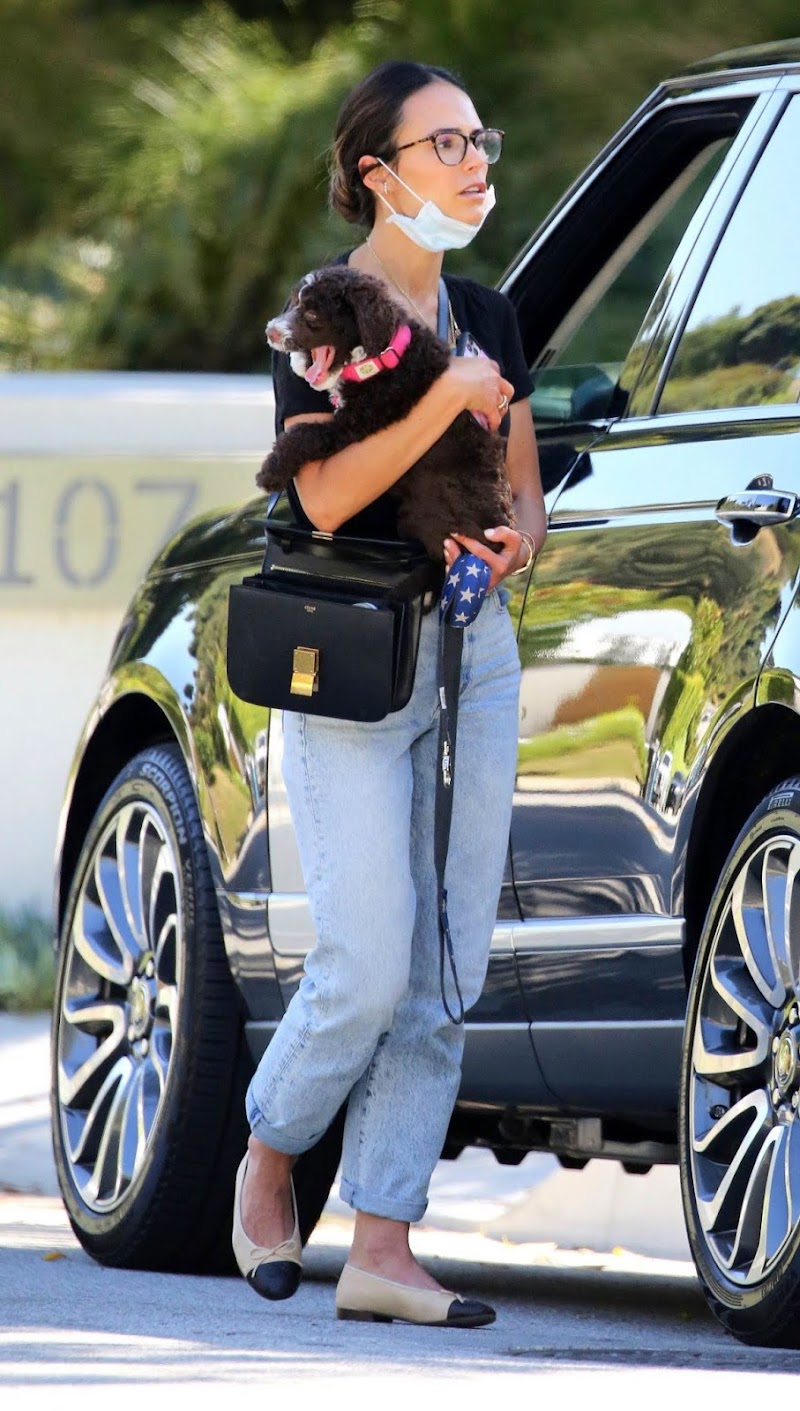 Jordana Brewster Clicked in Denim Outside with Her Dog in Los Angeles 6 May -2020
