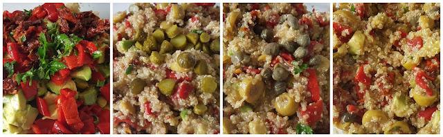 Ensalada de quinoa y aguacate con encurtidos