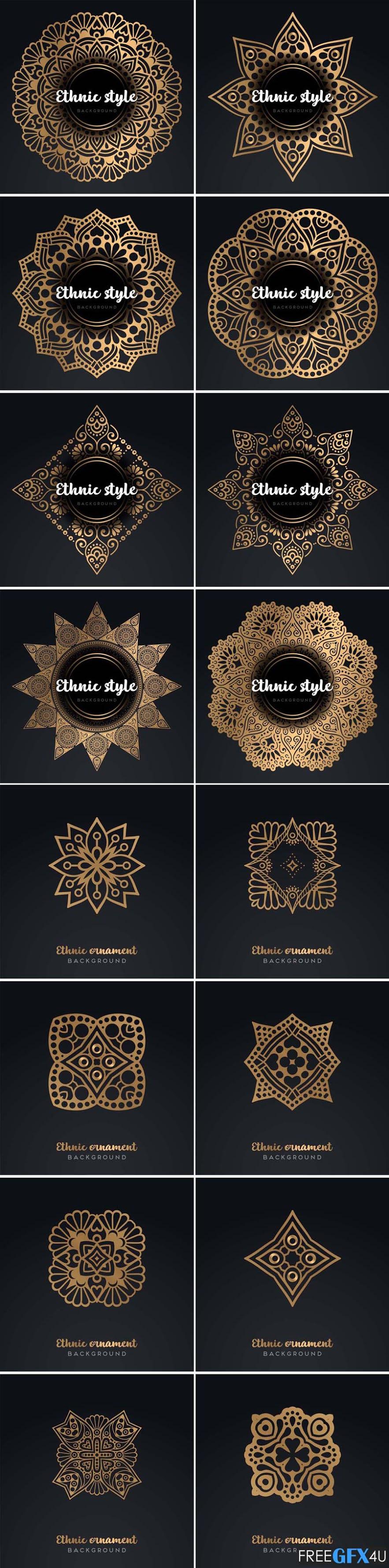 Gold Mandala Ornament Card In Vector