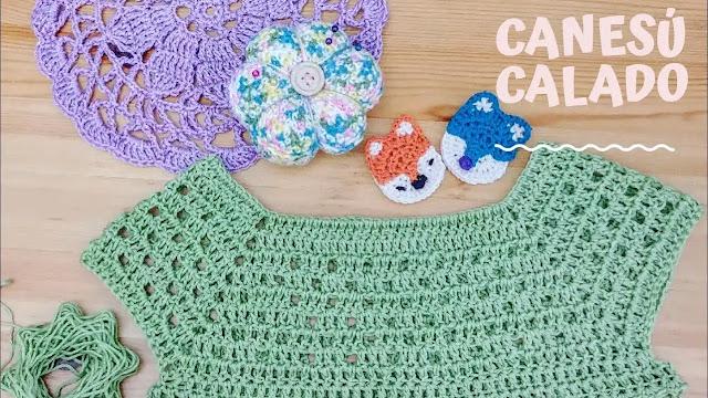 Como Tejer Canesú Menta Calado a Crochet