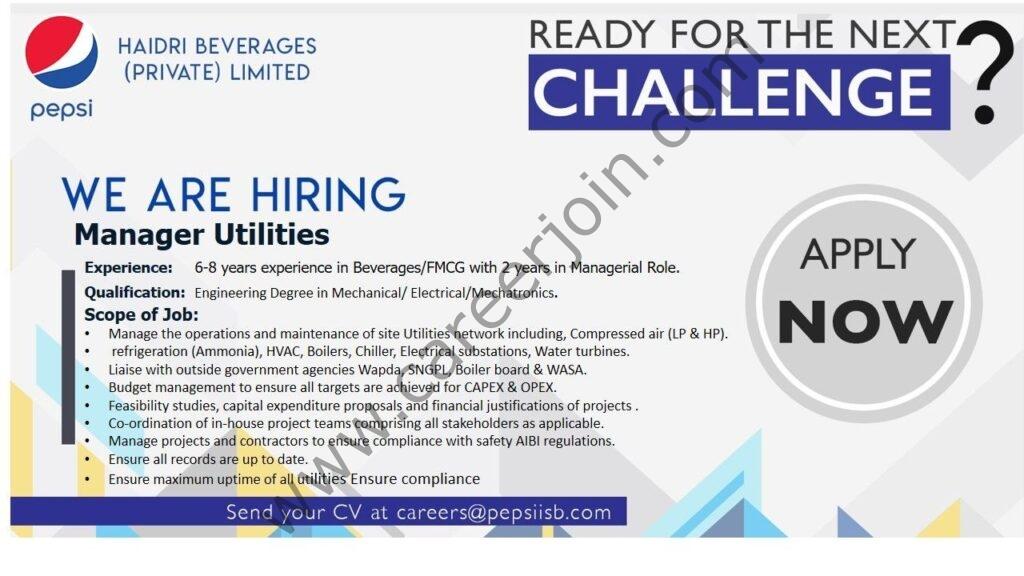 careers@pepsiisb.com - Pepsi company Jobs 2021 in Pakistan
