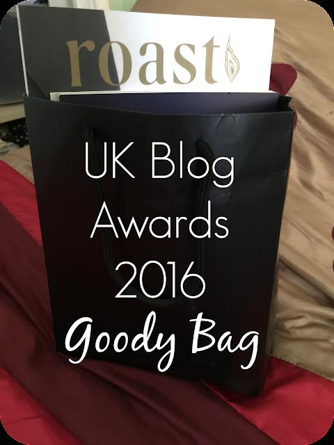 UK Blog awards 2016 goody bag