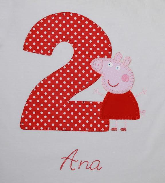 camiseta de cumpleaños peppa pig 2 años