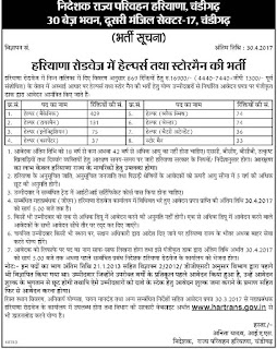 Haryana Roadways Helper Jobs Recruitment 2017