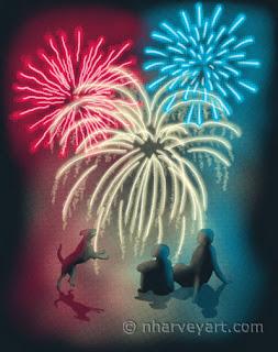"""Simple Celebration"" digital art, people dog watching fireworks"