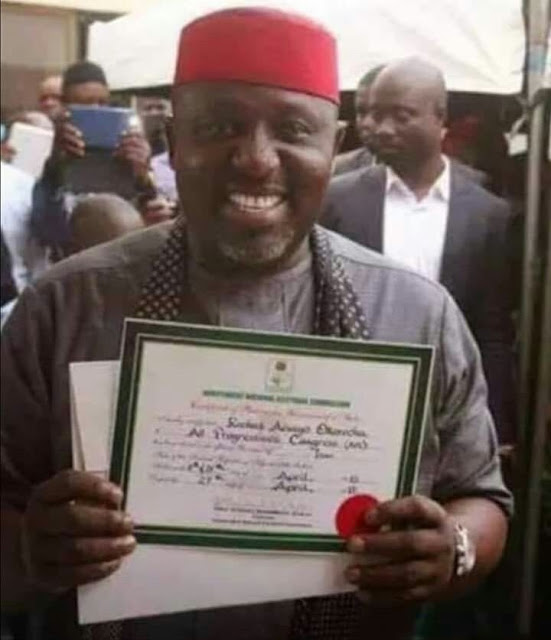 INEC Issues Rochas Okorocha Certificate of Return To Him