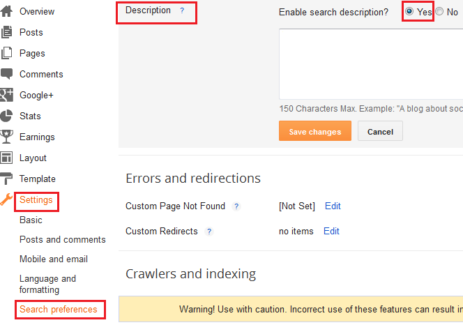 Adding global meta Description to Blogger