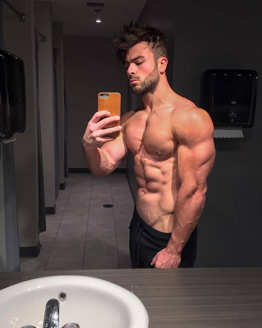 sexy-muscular-hunk-joey-hornyak-shirtless-body-huge-triceps-selfie-crazy-male-hairstyle