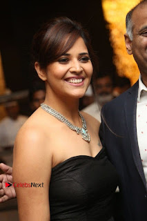 Telugu Anchor Actress Anasuya Bharadwa Stills in Strap Less Black Long Dress at Winner Pre Release Function  0002.jpg