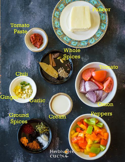 Akbari Paneer ingredients