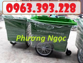 Xe gom rác nhựa 3 bánh xe 660L, xe đẩy rác công nghiệp, thùng rác 660L 67274484_1435973186550017_1511112873626042368_n