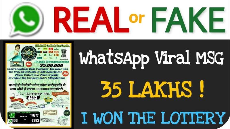 Jio KBC Lottery fake SMS on WhatsApp