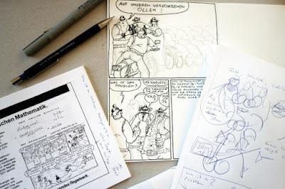 Mir Roy is drawin comic strips - Mir Roy zeichnet Comics