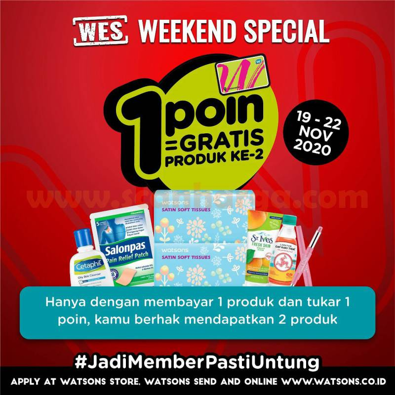 Promo Watsons WES: weekend Special up to 50% Diskon Tukar 1 Point Gratis Produk Ke-2
