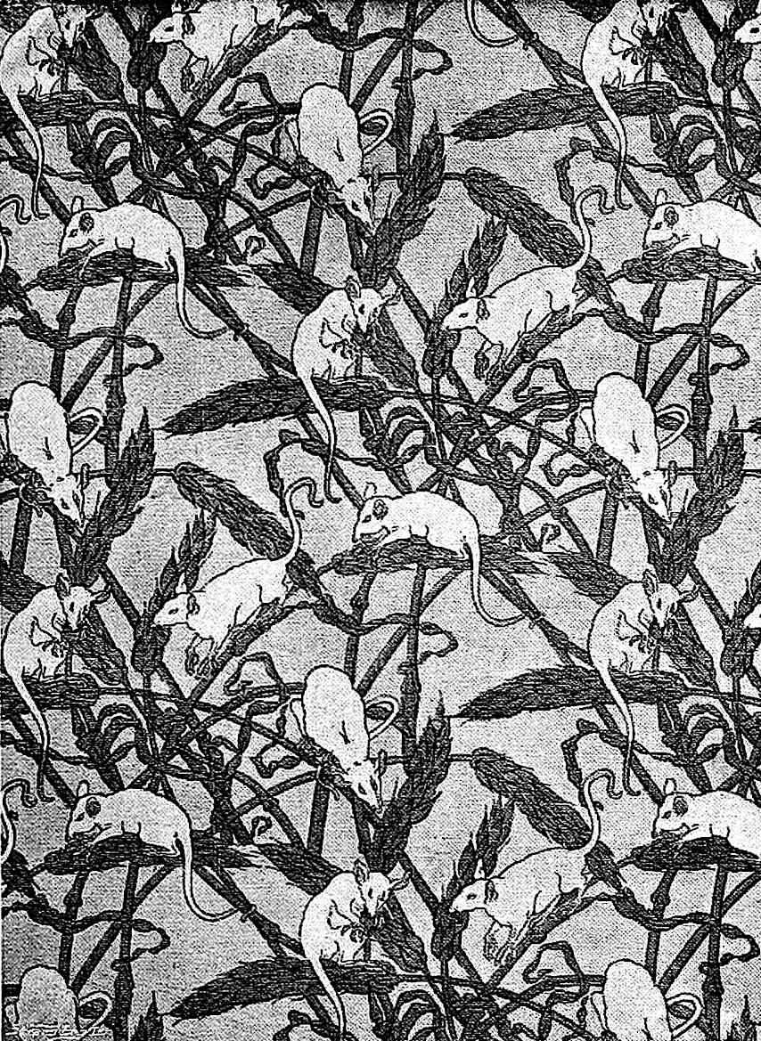1914 wallpaper with a pattern of fieldmice eating crops