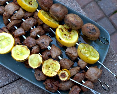 Easy Beef Kabobs with Grilled Zucchini and New-Potato Kabobs, an easy-easy grill supper. Recipe, tips, WW points at Kitchen Parade.