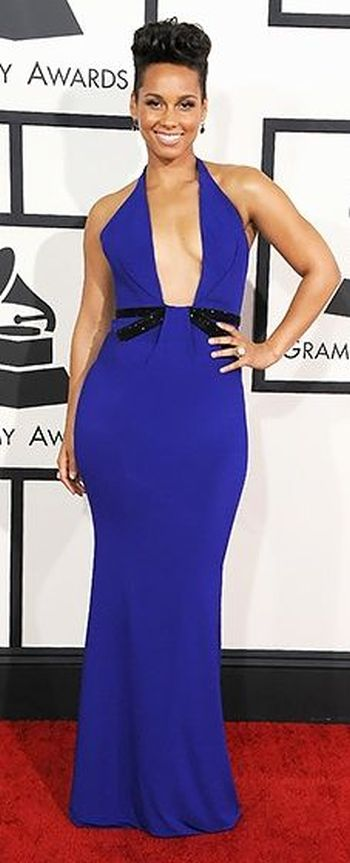 Alicia Keys in blue Armani Privé gown at the Grammys 2014