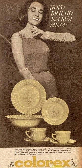 Propaganda antiga da famosa linha de louças Colorex apresentada em 1962