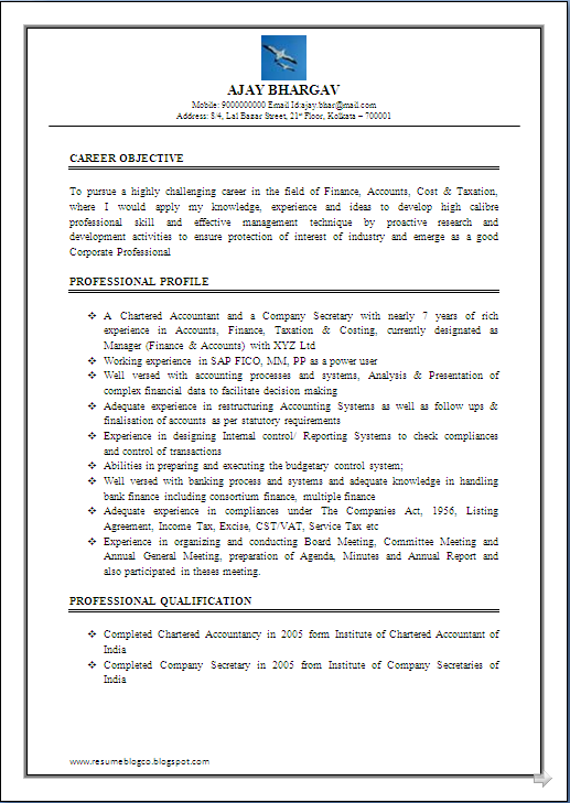 RESUME BLOG CO Resume Sample Of Chartered Accountant CA