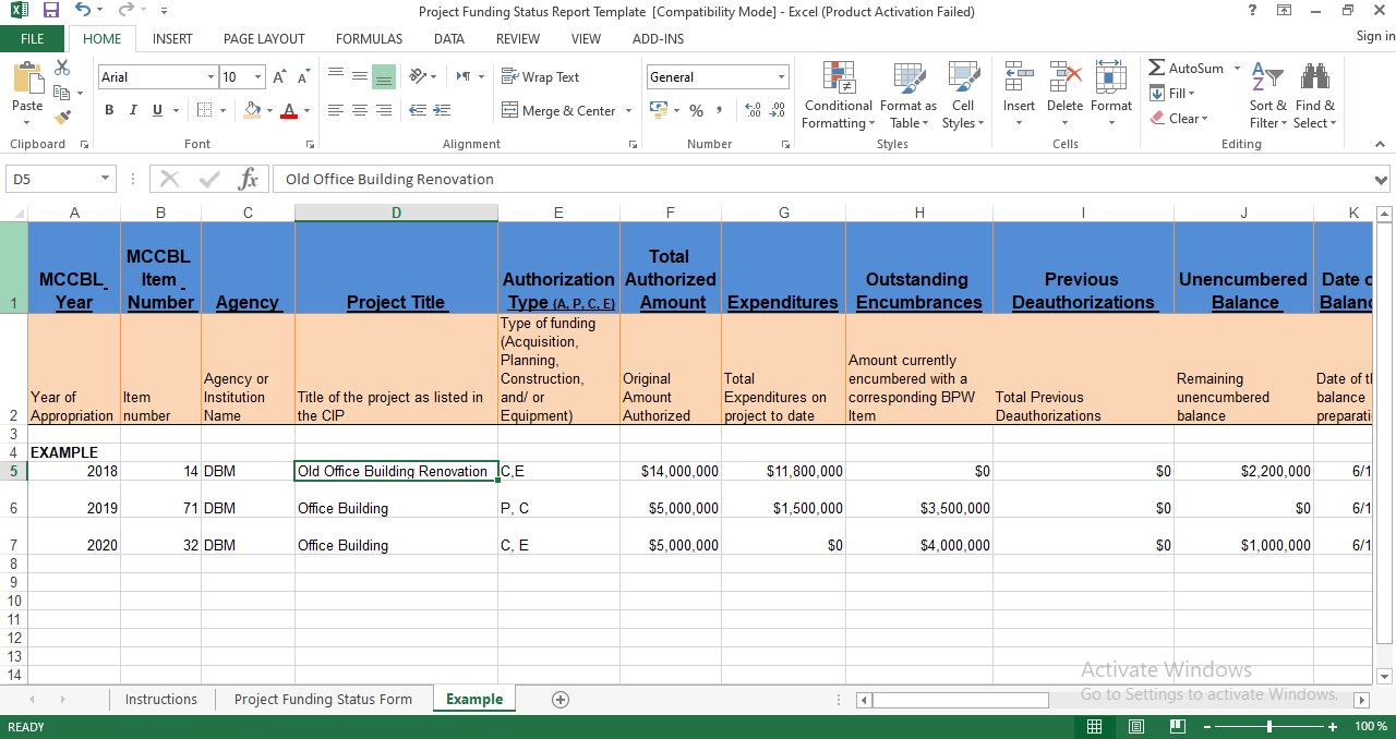 Project funding status report template excel