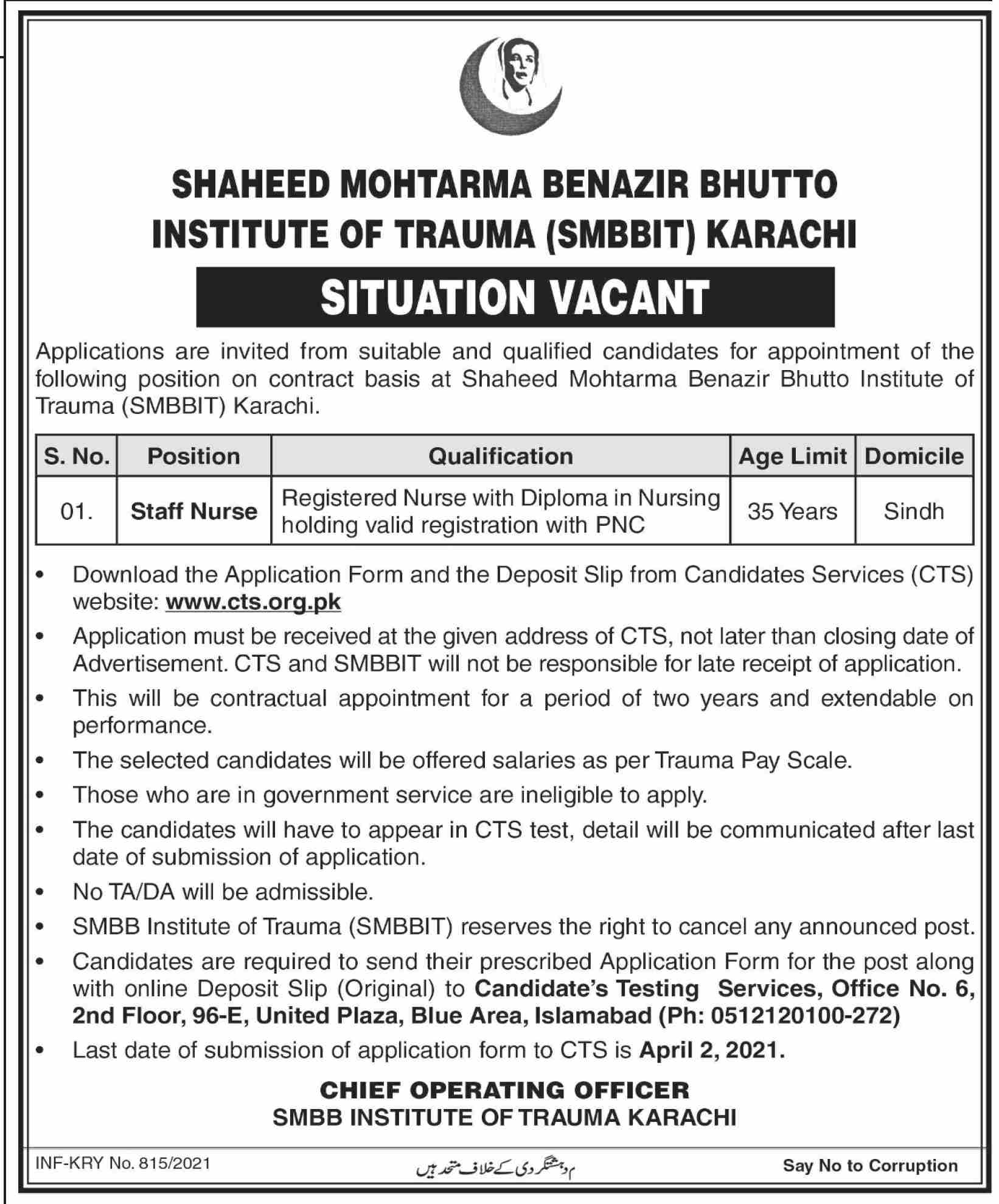 government,shaheed benazir bhutto institute of trauma smbbit karachi,staff nurse,latest jobs,last date,requirements,application form,how to apply, jobs 2021,