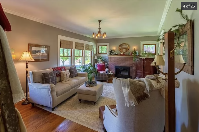 color photo of living room with fireplace and three windows, Sears Kilbourne 201 Iola Street Glenshaw Pennsylvania