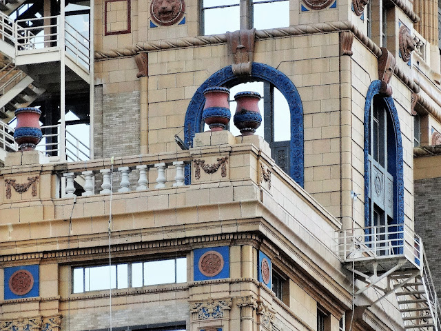 Architectural detail - Top level of Niels Esperson Building