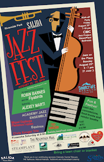 Colorful poster for Salida Jazz Festival with abstract instruments