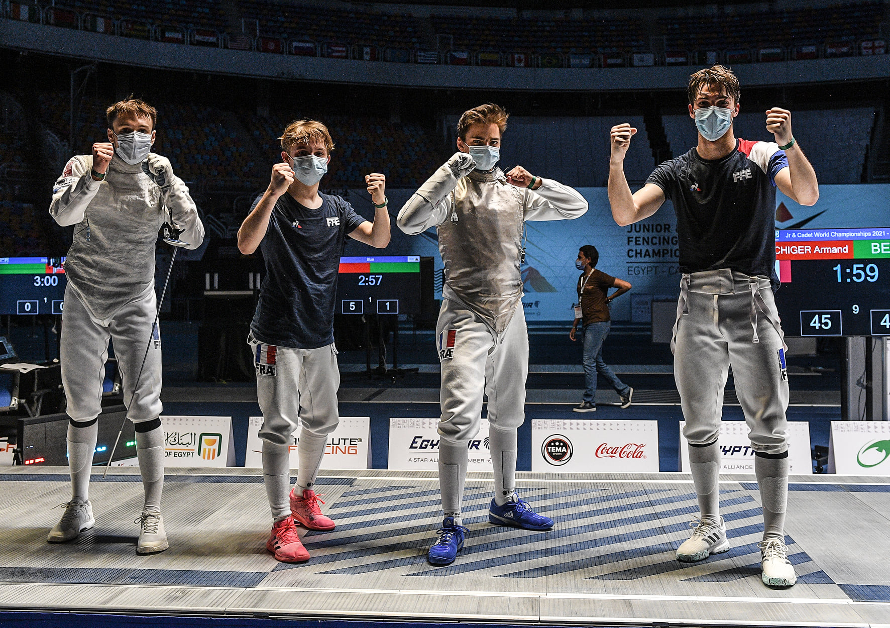 Constant Roger, Paul Antoine De Belval, Valerian Castanie, Armand Spichiger, França esgrima florete foil france fencing