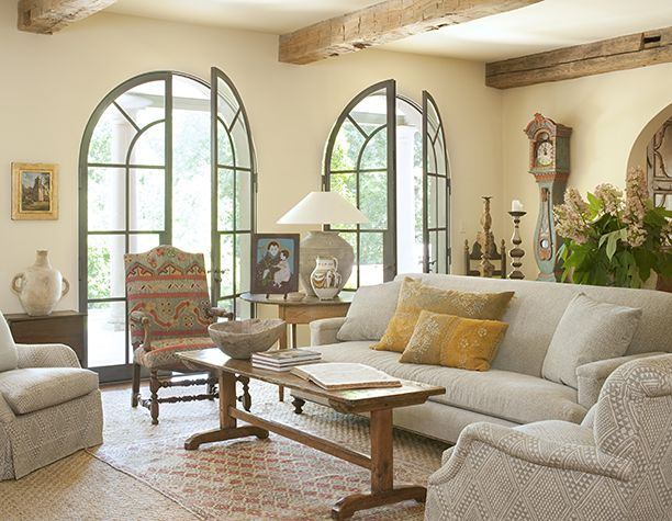 Shannon Bowers arched french doors interior design antiques