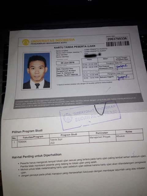 Kartu Ujian SIMAK UI - Pendaftaran S2 Magister UI